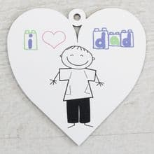 Printed 9.5cm Wood Heart cut from 3mm MDF Dad Daddy Fathers Day Gift - Sketch